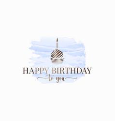 happy birthday watercolor logo design on white vector image