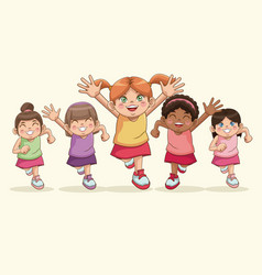 happy children day cartoon girls sweet smiling vector image