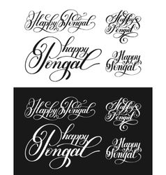 happy pongal handwritten ink lettering inscription vector image vector image