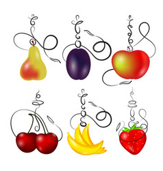 hookah with fruit set vector image