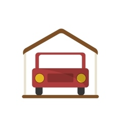 Isolated car inside house design vector