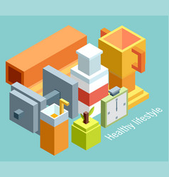 isometric of icons for fitness and diet vector image