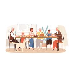 joyful american family celebrating holiday sitting vector image