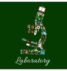 Laboratory microscope symbol with science items vector