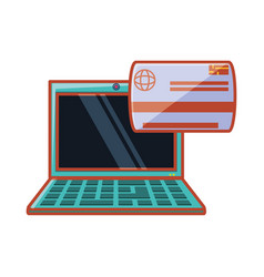 laptop with credit card vector image