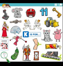 Letter i words educational task for children vector
