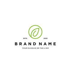 Line art leaf icon logo design vector