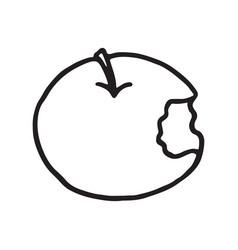 line drawing cartoon doodle juicy bitten apple vector image