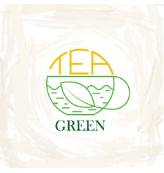 logo green or organic tea cups tea and tea vector image