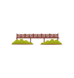 Long wooden pedestrian bridge with railings and vector