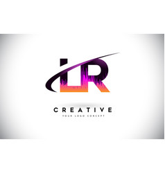 Lr l r grunge letter logo with purple vibrant vector