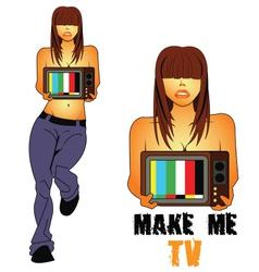 Make-me-TV vector image