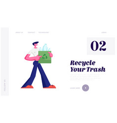 man carry bag with recycle sign plastic bottles vector image