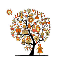 maslenitsa or shrovetide art tree for your design vector image