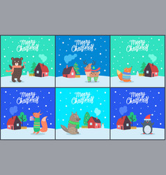 merry christmas bear fox with present set vector image