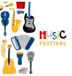 music festival banner with cartoon character vector image