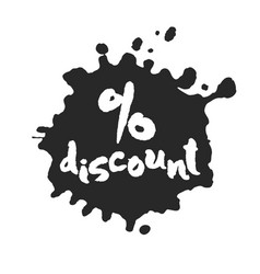 percent discount inside ink blot vector image