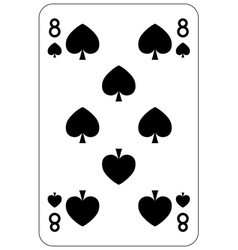 Poker playing card 8 spade vector