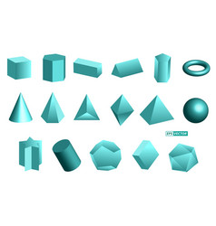 Realistic geometric shapes isolated or basic 3d vector