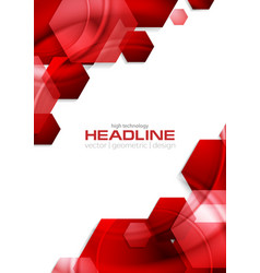 Red glossy tech hexagons background vector