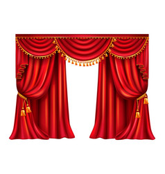 red silk curtain with lambrequin realistic vector image