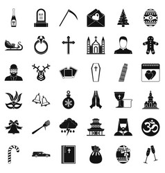 Religion icons set simple style vector
