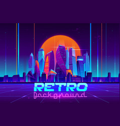Retro cyberpunk urban background cartoon vector