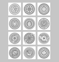 Round geometric ornaments set of had drawn doodle vector