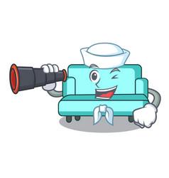 Sailor with binocular sofa mascot cartoon style vector