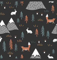 scandinavian cartoon seamless pattern with hares vector image