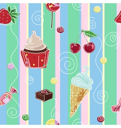 Seamless background with sweets and cupcake vector image