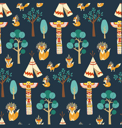 Seamless pattern texture with foxes vector