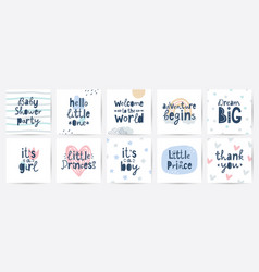 set cards for baby shower party vector image