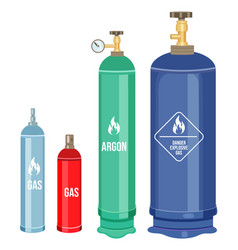 Set cartoon icons gas cylinders balloons vector