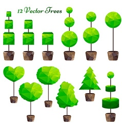 Set of 12 green polygonal trees low poly vector
