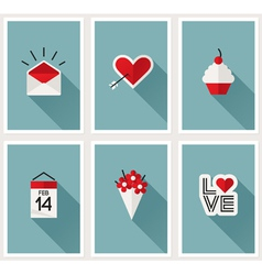 Set of romantic Valentines day symbols vector image