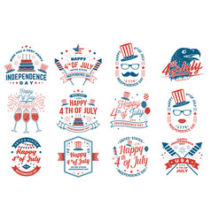 Set vintage 4th july design fourth july vector