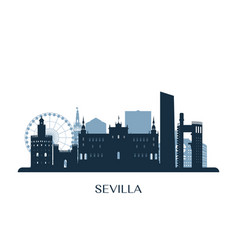 sevilla skyline monochrome silhouette vector image