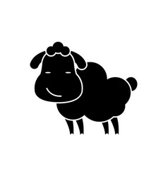 sheep cute icon black sign vector image