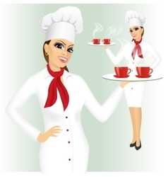 smiling female chef with two cups of tea vector image