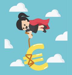 Super business woman silver euro money symbol vector