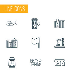 Urban icons line style set with tramway building vector
