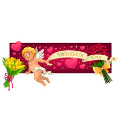valentines day hearts flowers and cupid angel vector image