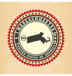 Vintage label-sticker cards of Massachusetts vector