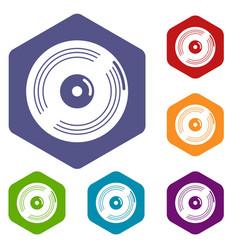 vinyl record icons hexahedron vector image