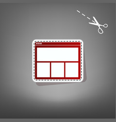 web window sign red icon with for vector image