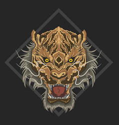 wild tiger angry face with fullcolor vector image
