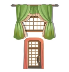 Window with green curtains and door vector