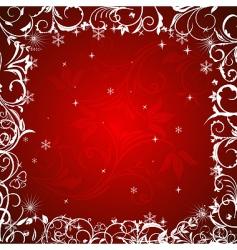 Winter floral frame vector