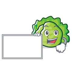 with board lettuce character cartoon style vector image